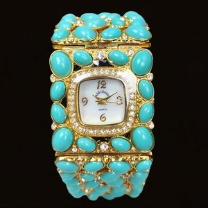 Adrienne Gold Turquoise Crystal Bracelet Watch